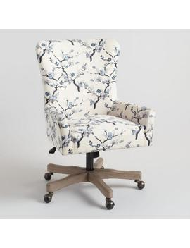 Ivory And Blue Blossom Trystan Upholstered Office Chair by World Market