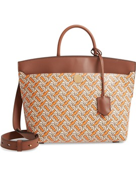Small Society Tb Print Leather Top Handle Bag by Burberry