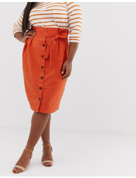 Unique21 Hero Linen Button Through Paperbag Tie Waist Skirt by Asos Brand
