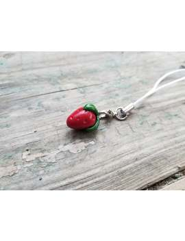 Strawberry Charm   Polymer Clay   Strawberry Phone Charm   Strawberry Necklace by Etsy