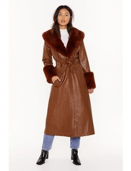 I'm That Girl Faux Fur Collar Trench Coat by Nasty Gal