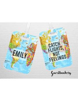 Catching Flights Not Feelings   Luggage Tag   Catch Flights Not Feelings   Travel   Bag Tag   Personalized Luggage Tag   Custom Luggage Tag by Etsy
