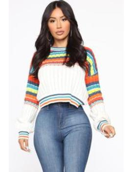 Can't Wait To See You Sweater   White/Combo by Fashion Nova