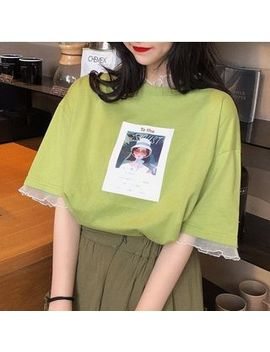 Moon City   Short Sleeve Mesh Trim Print T Shirt by Moon City