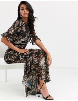 Hope &Amp; Ivy Flutter Sleeve Maxi Dress With Tiered Skirt Hem In Navy Floral Print by Hope And Ivy
