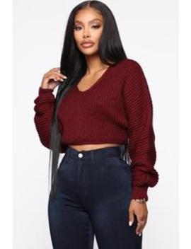 Heather Cropped Sweater   Burgundy by Fashion Nova