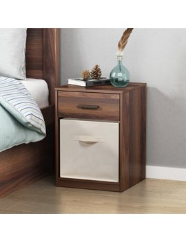Mainstays 1 Drawer Night Stand With Cube Storage, Canyon Walnut Finish by Mainstays