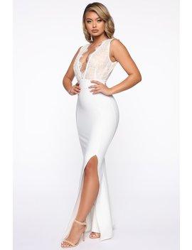 Eyes On Me Mermaid Maxi Dress   White by Fashion Nova