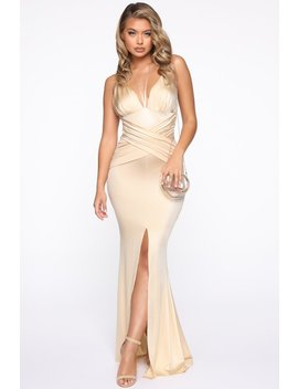 Well Off Satin Maxi Dress   Gold by Fashion Nova
