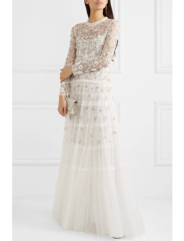 Ruffled Embellished Tulle Gown by Needle & Thread