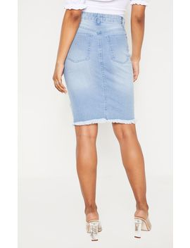Tall Light Wash Midi Distressed Denim Skirt by Prettylittlething
