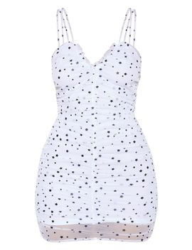 White Star Mesh Ruched Bodycon Dress  by Prettylittlething