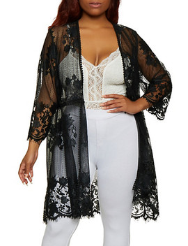 Plus Size Floral Embroidered Lace Duster by Rainbow