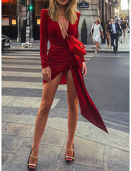 Red Velvet Plunge Tie Waist Long Sleeve Women Bodycon Mini Dress by Choies