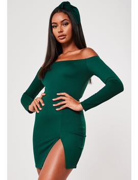Green Bardot Long Sleeve Split Mini Dress by Missguided