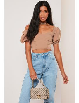 Petite Brown Milkmaid Crop Top by Missguided