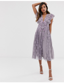 Asos Design Midi Dress With Lace Godet Inserts And Embroidery by Asos Design