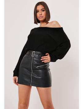 Tall Black Off Shoulder Cropped Knitted Sweater by Missguided