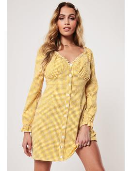 Petite Yellow Gingham Milkmaid Mini Dress by Missguided