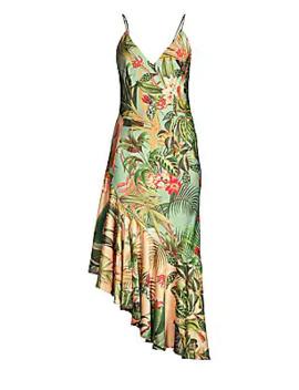 Paradise Print Ruffle Slip Dress by Pat Bo