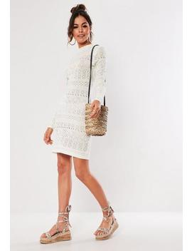 White Pointelle Knitted Mini Dress by Missguided