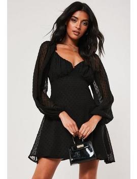 Black Dobby Milkmaid Mini Dress by Missguided