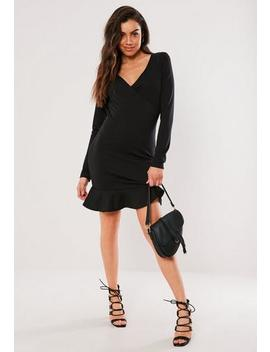 Black Wrap Front Frill Bodycon Mini Dress by Missguided