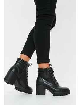 Black Mid Heel Cleated Sole Hook And Eye Detail Ankle Boots by Missguided