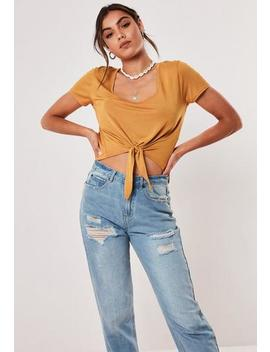 Mustard Scoop Neck Tie Front Short Sleeve T Shirt by Missguided