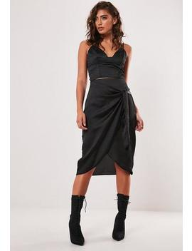 Petite Black Wrap Tie Slip Skirt by Missguided