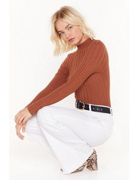 Round That Ballpark Ribbed Sweater by Nasty Gal
