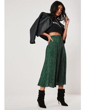 Green Plisse A Line Midi Skirt by Missguided