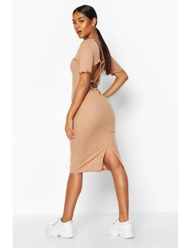 Rib Strappy Back Ring Detail Midi Dress by Boohoo