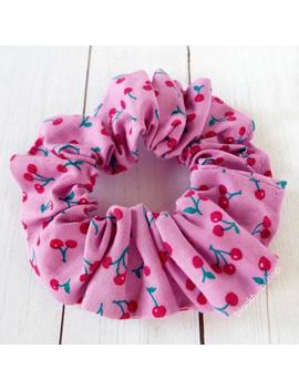 Retro Hair Scrunchies, Cherry Fabric, Cute Hair Ties, Ponytail Holders, Kawaii Fabric, Fairy Kei Fashion by Etsy