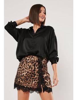 Brown Leopard Satin Eyelash Trim Mini Skirt by Missguided