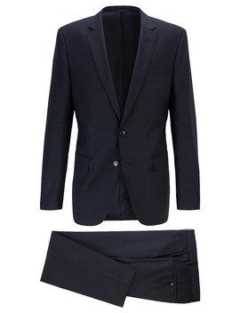 Slim Fit Suit In Micro Patterned Virgin Wool Serge by Boss