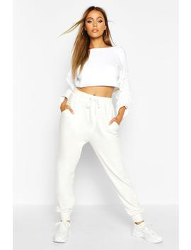 Ruched Sleeve Crop Sweatshirt by Boohoo