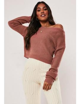 Petite Pink Cropped Off The Shoulder Jumper by Missguided
