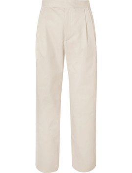 Isabella Cropped Pleated Twill Straight Leg Pants by Deveaux
