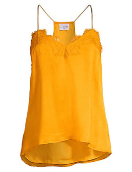 The Racer Crinkle Lace Trim Silk Tank Top by Cami Nyc