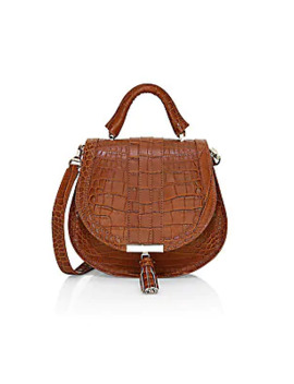 Mini Venice Croc Embossed Leather Saddle Bag by Demellier