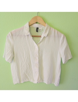H&M White Cropped Button Up by H&M