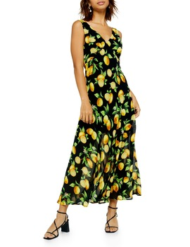 Lemon Print Sleeveless Midi Dress by Topshop