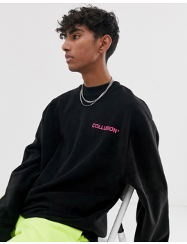 Collusion Unisex Sweatshirt Fleece In Black by Collusion