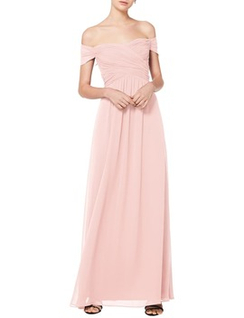 Off The Shoulder Ruched Bodice Chiffon Evening Dress by #Levkoff
