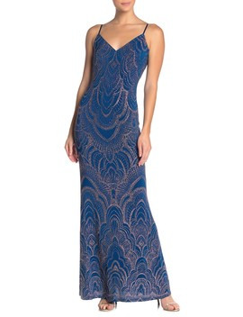 Glitter V Neck Spaghetti Strap Maxi Dress by Jump