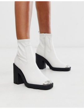 Asos Design Exchange Chunky Sock Boots In White by Asos Design
