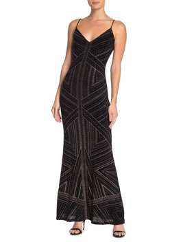 V Neck Glitter Slinky Gown by Jump