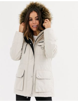 New Look Faux Fur Hood Utility Parka In Stone by New Look