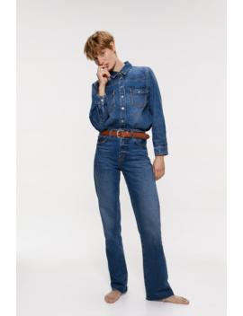 Jeans Zw Premium High Rise Straight Ver Tudo Jeans Mulher by Zara